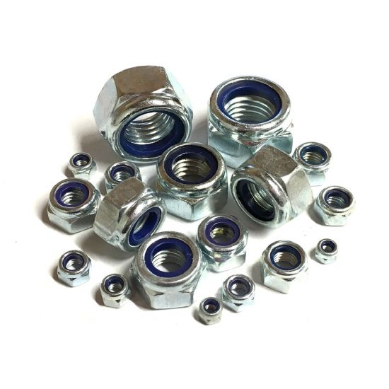 BSW Nyloc Nuts - Bright Zinc Plated Steel