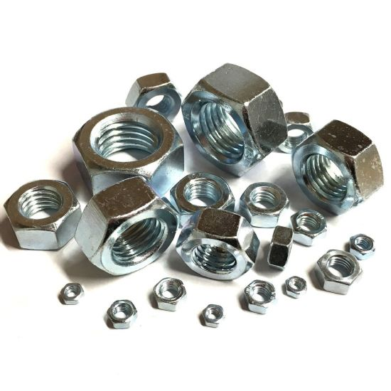 M22 x 2mm Full Nuts Fine Pitch - BZP
