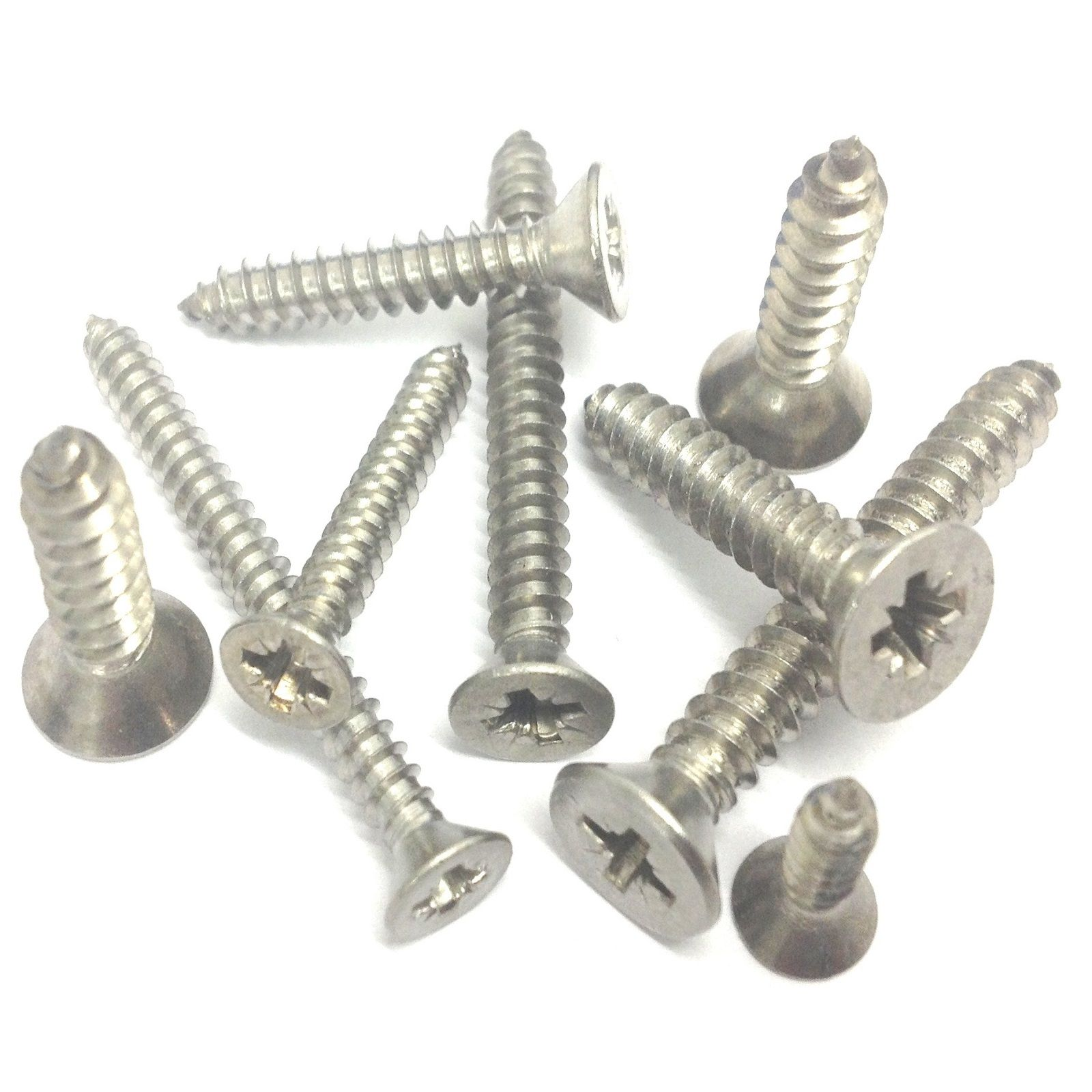 No.4 x 1//4 Self Tapping Screws Pozi Countersunk A2 Stainless Steel Pack Of 10